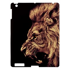 Angry Male Lion Gold Apple Ipad 3/4 Hardshell Case by Celenk