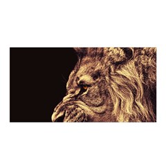 Angry Male Lion Gold Satin Wrap by Celenk