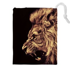Angry Male Lion Gold Drawstring Pouches (xxl)