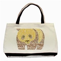 Panda Typography Basic Tote Bag by Celenk