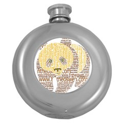 Panda Typography Round Hip Flask (5 Oz)