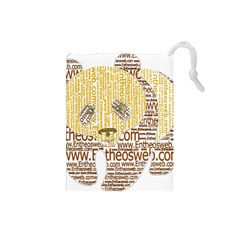 Panda Typography Drawstring Pouches (small)  by Celenk