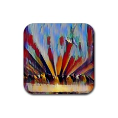 3abstractionism Rubber Square Coaster (4 Pack)  by 8fugoso