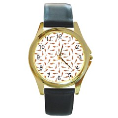 Koi Fishes Motif Pattern Round Gold Metal Watch