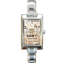 Vintage Newspapers Headline Typography Rectangle Italian Charm Watch by yoursparklingshop
