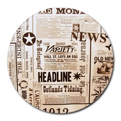 Vintage Newspapers Headline Typography Round Mousepads by yoursparklingshop