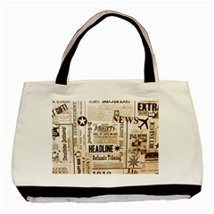 Vintage Newspapers Headline Typography Basic Tote Bag by yoursparklingshop