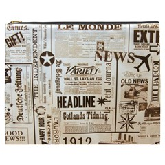 Vintage Newspapers Headline Typography Cosmetic Bag (xxxl)  by yoursparklingshop