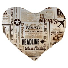 Vintage Newspapers Headline Typography Large 19  Premium Heart Shape Cushions by yoursparklingshop