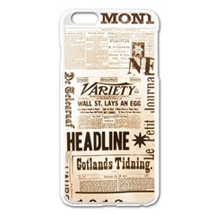 Vintage Newspapers Headline Typography Apple Iphone 6 Plus/6s Plus Enamel White Case by yoursparklingshop