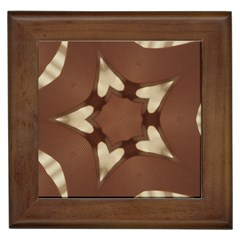 Chocolate Brown Kaleidoscope Design Star Framed Tiles by yoursparklingshop