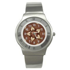 Chocolate Brown Kaleidoscope Design Star Stainless Steel Watch by yoursparklingshop
