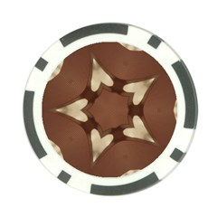 Chocolate Brown Kaleidoscope Design Star Poker Chip Card Guard by yoursparklingshop