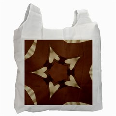 Chocolate Brown Kaleidoscope Design Star Recycle Bag (two Side)  by yoursparklingshop