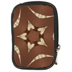 Chocolate Brown Kaleidoscope Design Star Compact Camera Cases by yoursparklingshop