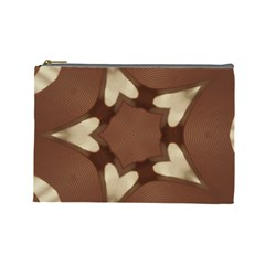 Chocolate Brown Kaleidoscope Design Star Cosmetic Bag (large)  by yoursparklingshop