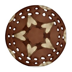 Chocolate Brown Kaleidoscope Design Star Ornament (round Filigree) by yoursparklingshop