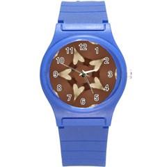 Chocolate Brown Kaleidoscope Design Star Round Plastic Sport Watch (s) by yoursparklingshop