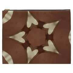 Chocolate Brown Kaleidoscope Design Star Cosmetic Bag (xxxl)  by yoursparklingshop