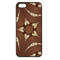 Chocolate Brown Kaleidoscope Design Star Apple Iphone 5 Seamless Case (black) by yoursparklingshop