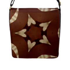 Chocolate Brown Kaleidoscope Design Star Flap Messenger Bag (l)  by yoursparklingshop