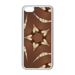 Chocolate Brown Kaleidoscope Design Star Apple Iphone 5c Seamless Case (white) by yoursparklingshop