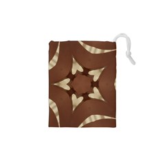 Chocolate Brown Kaleidoscope Design Star Drawstring Pouches (xs)  by yoursparklingshop
