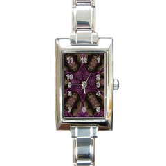 Pink Purple Kaleidoscopic Design Rectangle Italian Charm Watch by yoursparklingshop