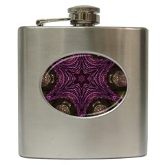Pink Purple Kaleidoscopic Design Hip Flask (6 Oz) by yoursparklingshop