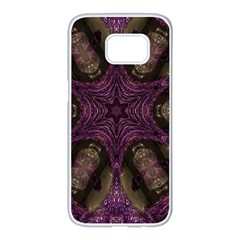 Pink Purple Kaleidoscopic Design Samsung Galaxy S7 Edge White Seamless Case by yoursparklingshop