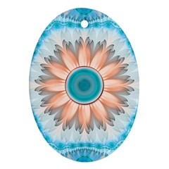 Clean And Pure Turquoise And White Fractal Flower Ornament (oval) by jayaprime