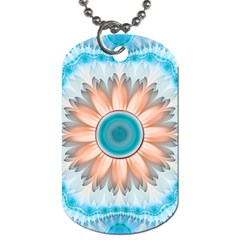 Clean And Pure Turquoise And White Fractal Flower Dog Tag (one Side)