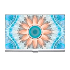 Clean And Pure Turquoise And White Fractal Flower Business Card Holders by jayaprime