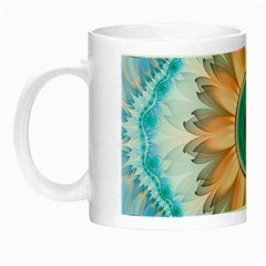 Clean And Pure Turquoise And White Fractal Flower Night Luminous Mugs by jayaprime
