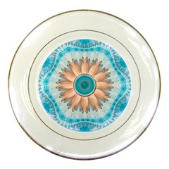 Clean And Pure Turquoise And White Fractal Flower Porcelain Plates by jayaprime