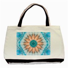 Clean And Pure Turquoise And White Fractal Flower Basic Tote Bag (two Sides) by jayaprime