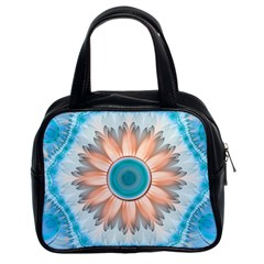 Clean And Pure Turquoise And White Fractal Flower Classic Handbags (2 Sides) by jayaprime