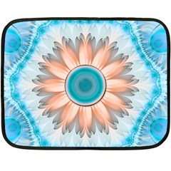Clean And Pure Turquoise And White Fractal Flower Fleece Blanket (mini) by jayaprime