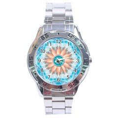 Clean And Pure Turquoise And White Fractal Flower Stainless Steel Analogue Watch by jayaprime