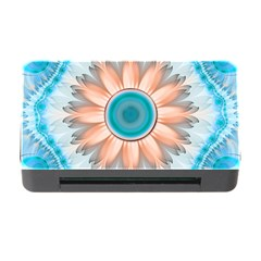 Clean And Pure Turquoise And White Fractal Flower Memory Card Reader With Cf by jayaprime