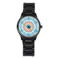 Clean And Pure Turquoise And White Fractal Flower Stainless Steel Round Watch by beautifulfractals