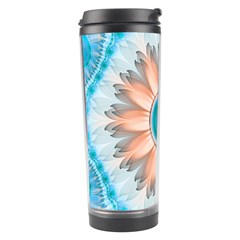 Clean And Pure Turquoise And White Fractal Flower Travel Tumbler by beautifulfractals