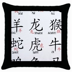 Chinese Zodiac Signs Throw Pillow Case (black) by Celenk