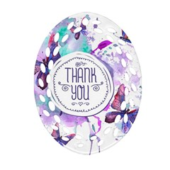 Thank You Oval Filigree Ornament (two Sides) by Celenk