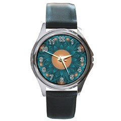 Beautiful Orange Teal Fractal Lotus Lily Pad Pond Round Metal Watch by jayaprime