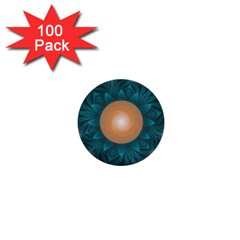 Beautiful Orange Teal Fractal Lotus Lily Pad Pond 1  Mini Buttons (100 Pack)  by jayaprime