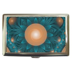 Beautiful Orange Teal Fractal Lotus Lily Pad Pond Cigarette Money Cases by jayaprime