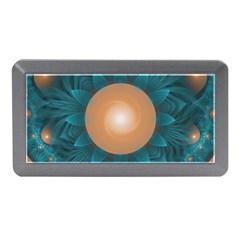 Beautiful Orange Teal Fractal Lotus Lily Pad Pond Memory Card Reader (mini) by jayaprime