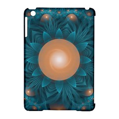 Beautiful Orange Teal Fractal Lotus Lily Pad Pond Apple Ipad Mini Hardshell Case (compatible With Smart Cover) by beautifulfractals