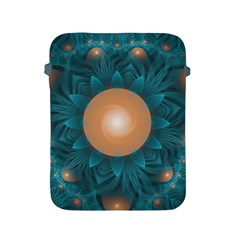 Beautiful Orange Teal Fractal Lotus Lily Pad Pond Apple Ipad 2/3/4 Protective Soft Cases by jayaprime